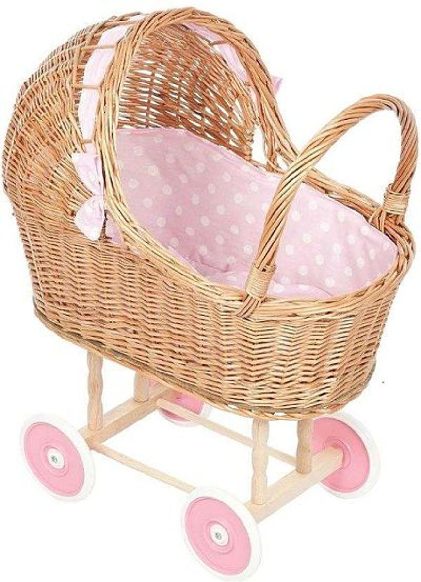 Playwood - Rieten poppenwagen - Roze met witte stippen rieten kap - kunststof wielen