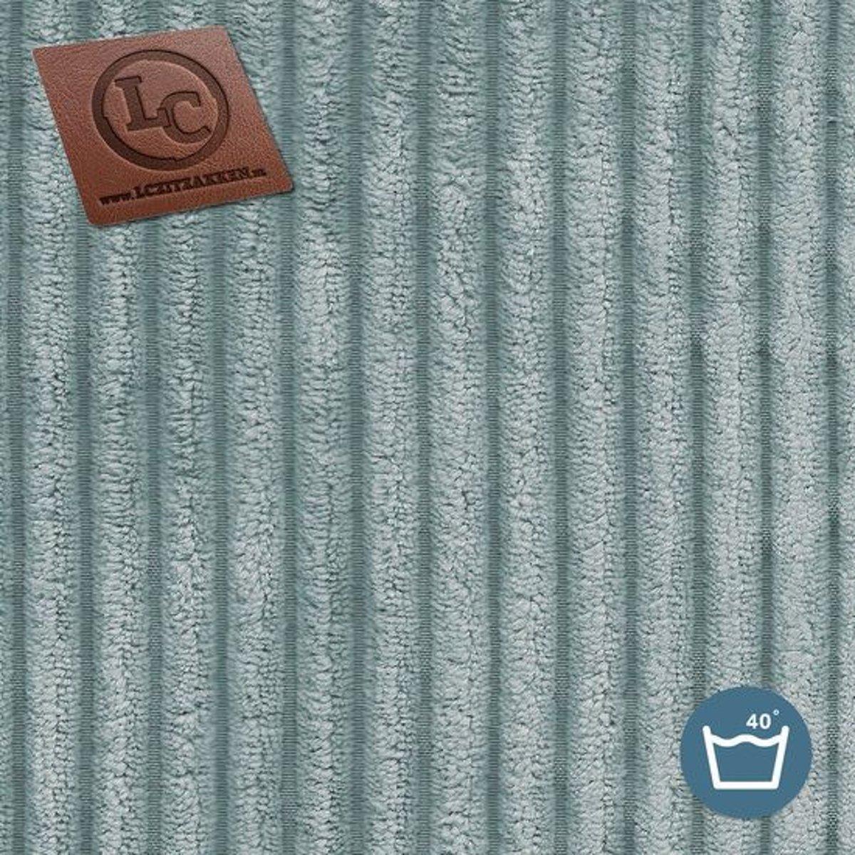 LC Zitzak hoes Ibiza L ribcord aqua blauwe - Wasbaar - Zacht en comfortabel kopen