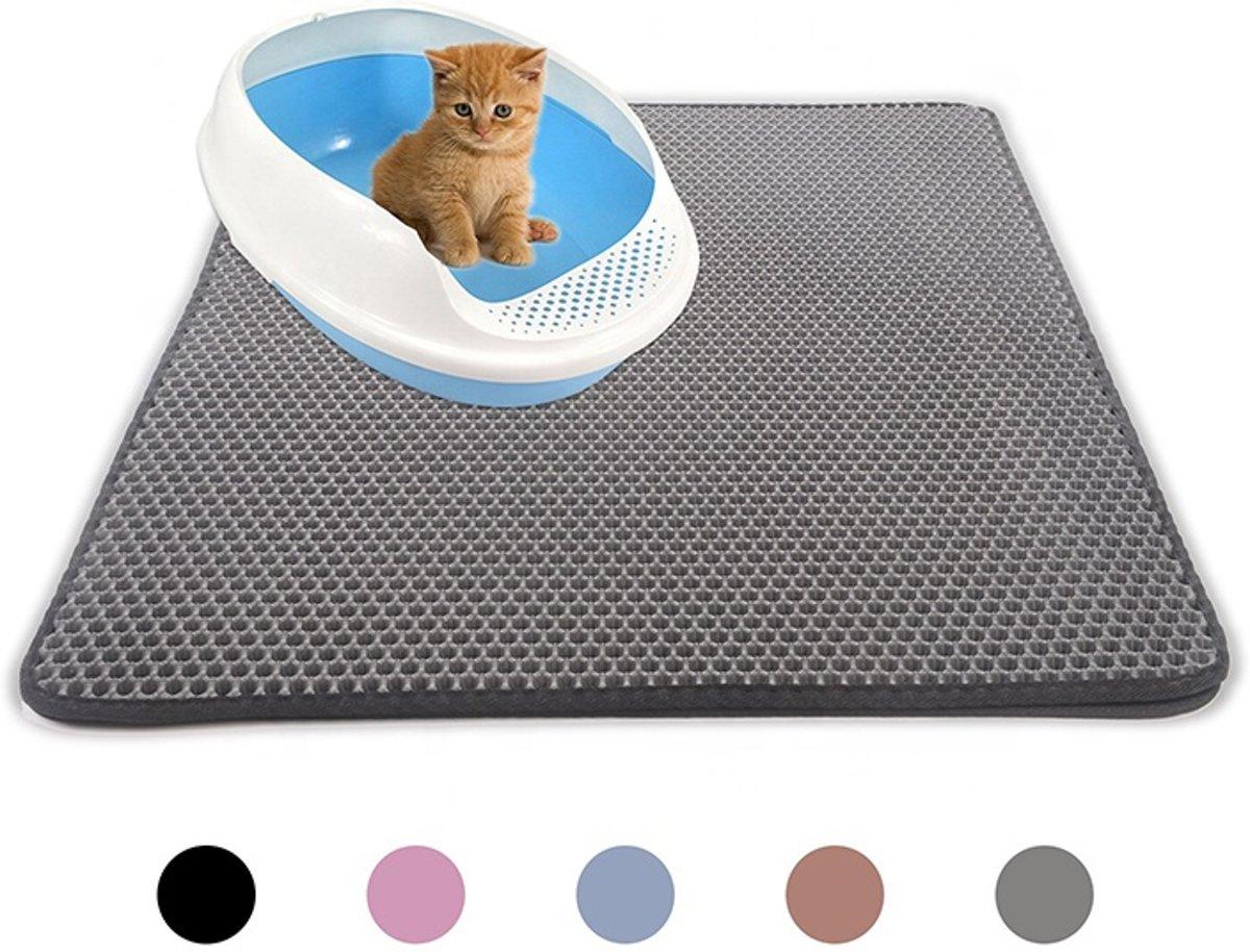 Handige Kattenbak Mat - Grit Opvanger - Dubbellaags & Waterdichte mat voor Katten - Katten Mat met Filter voor Grit - Kattenbak Mat voor Kattenbak - Grijs kopen