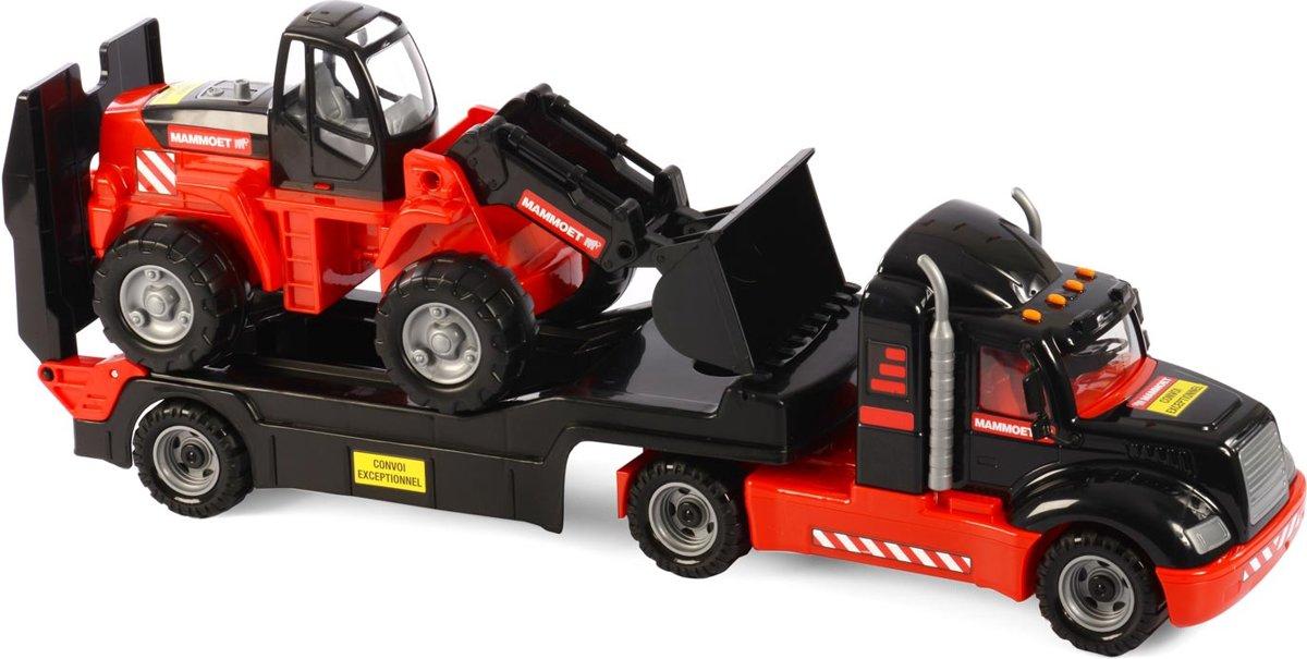 Mammoet Vrachtwagen met Aanhanger en Graafmachine