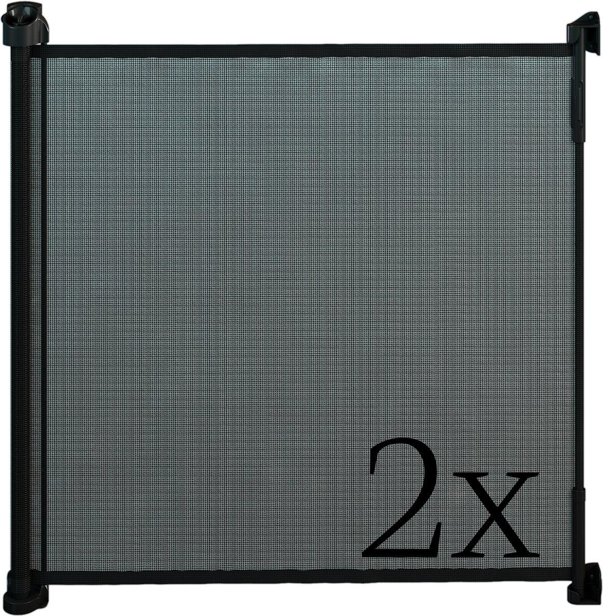 Gaterol Active Lite Zwart dubbelverpakking –  Twee uittrekbare trap- en deurhekjes Rollo, tot 140 cm