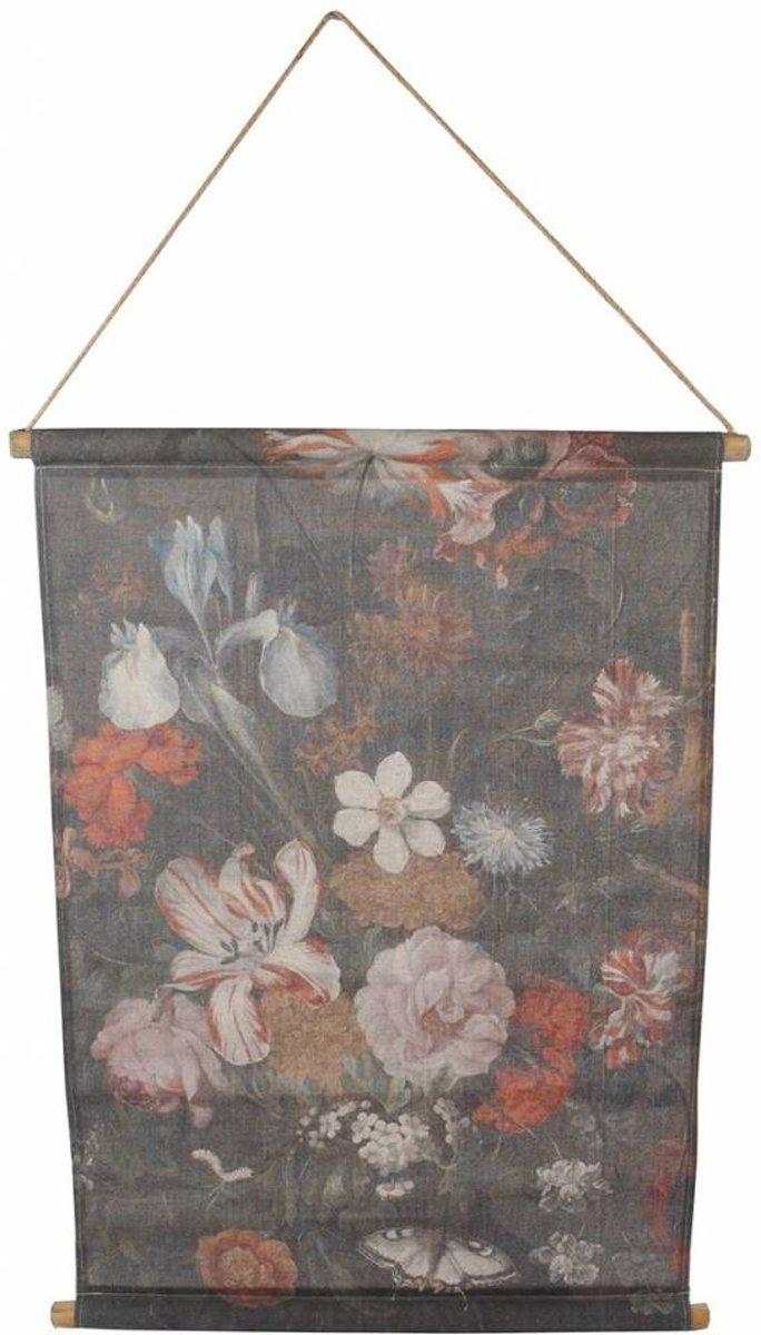 Wanddoek 'bloemen' 64x87cm zwart kopen
