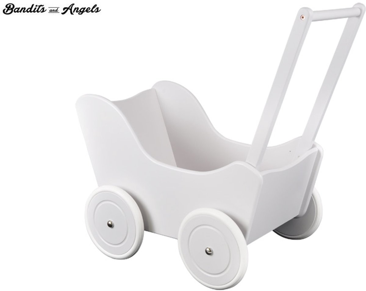 Houten poppenwagen Little Angel special white