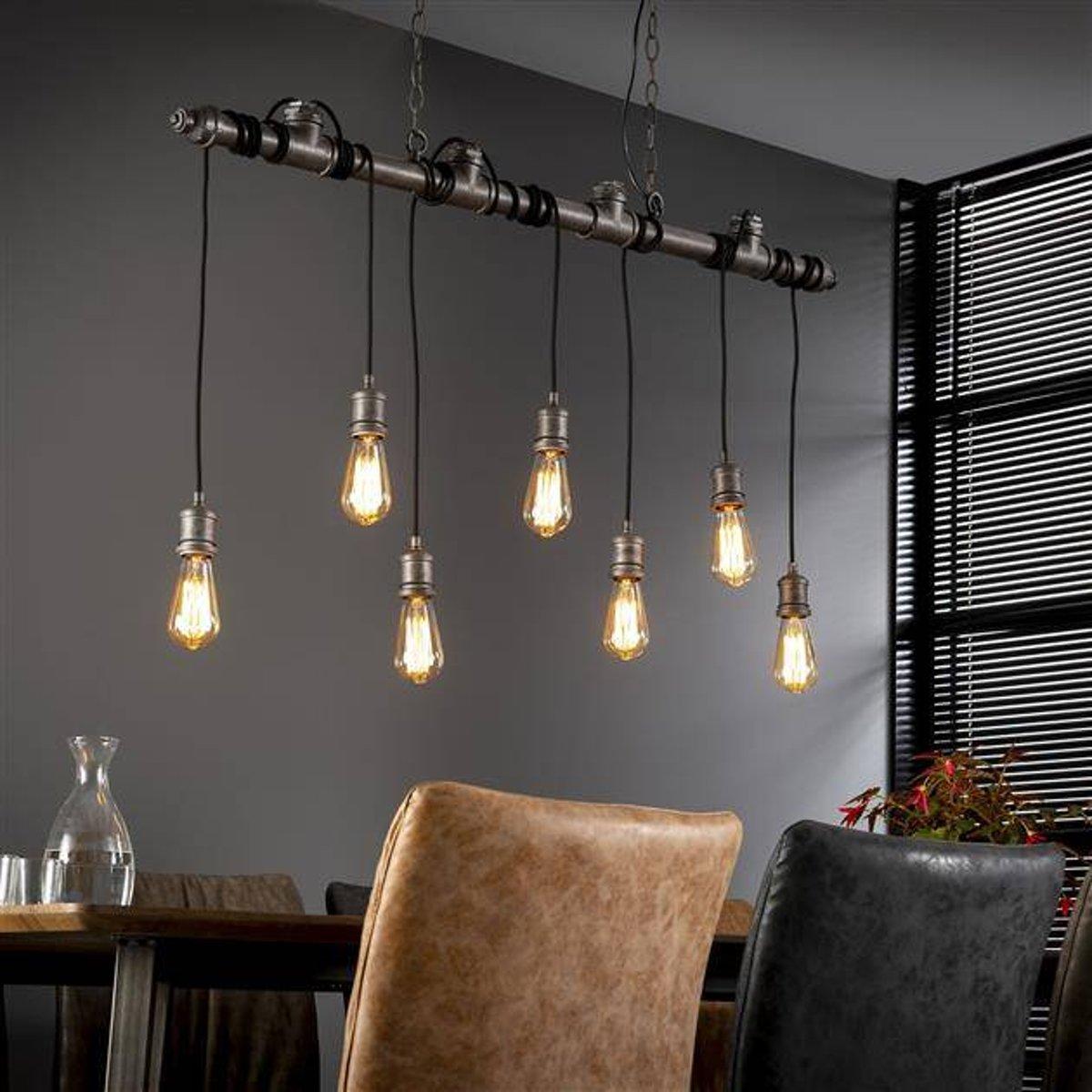 Industriële hanglamp Loua 7-lichts