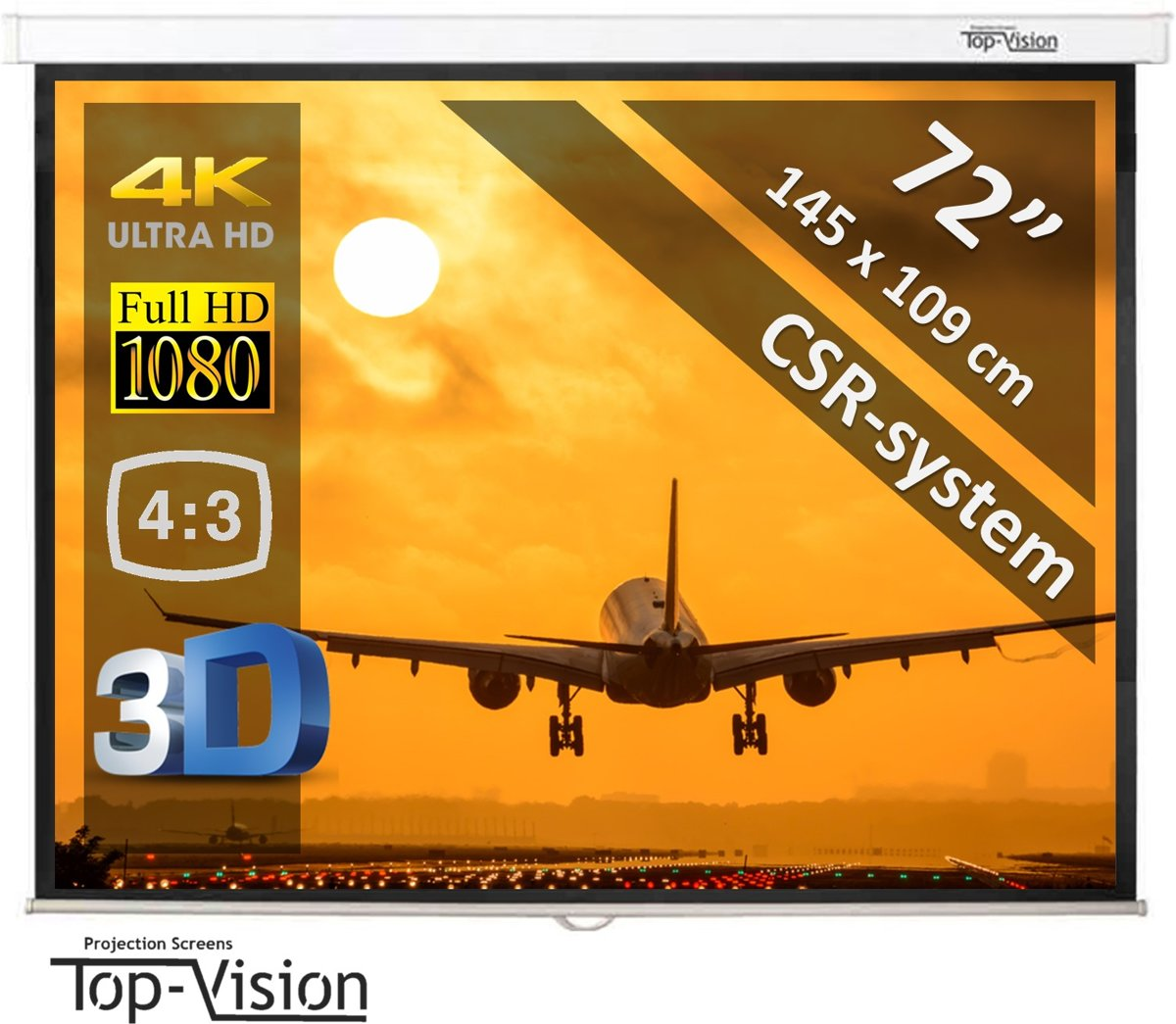"Manueel projectiescherm 72"" (183cm) - 145 x 109 cm - 4:3 - mét CSR-systeem kopen"