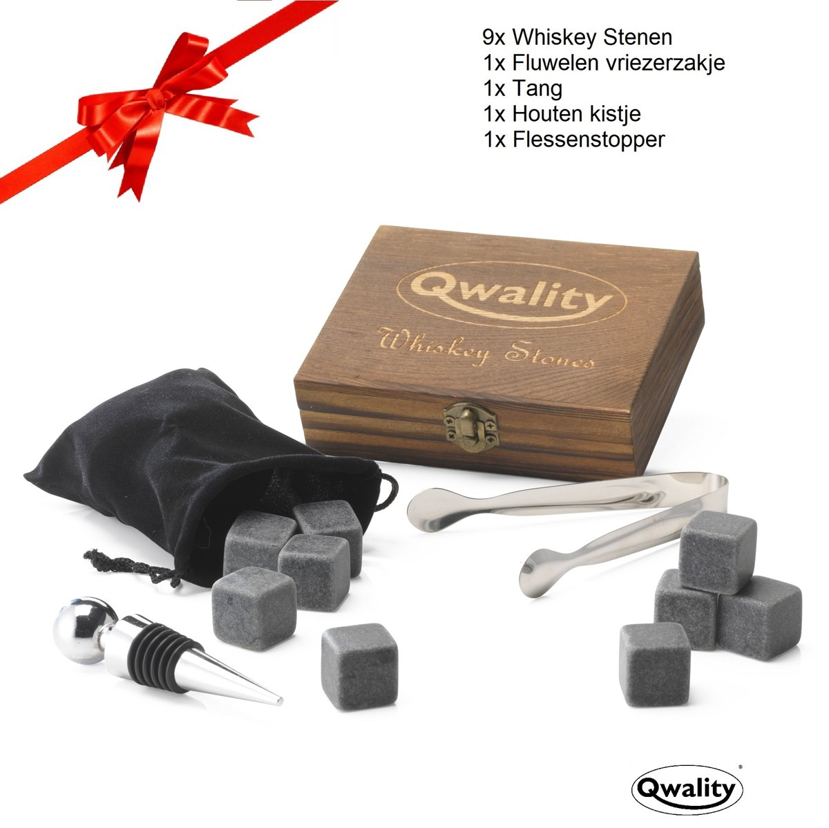 Whiskey Stones Set (9 Stuks) - Luxe Cadeau Set Whisky Stenen - Herbruikbare ijsblokjes - 9 Whiskeystenen met tang & vriezerzakje - Qwality4u kopen