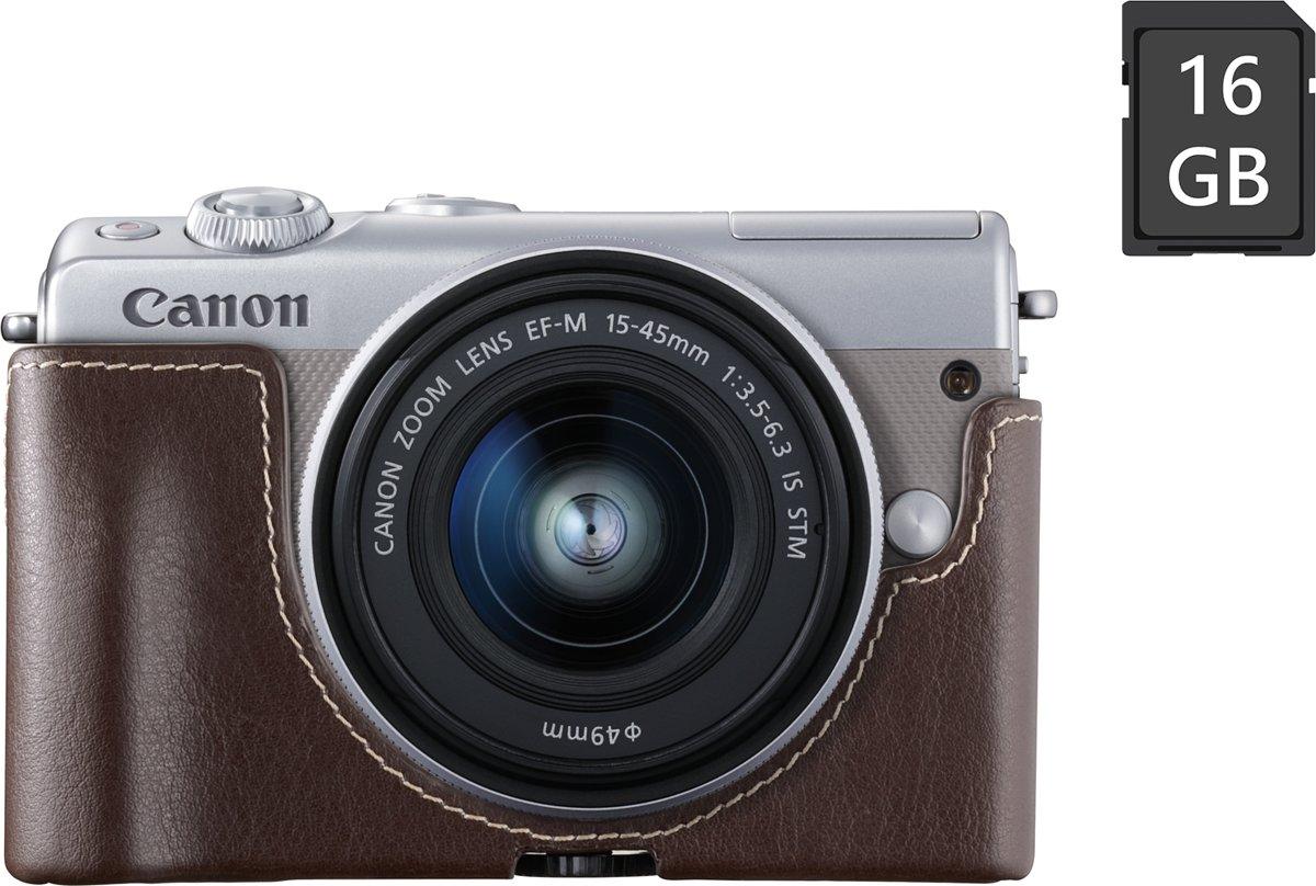 CANON EOS M100 + 15-45mm + SD-kaart & camerahoes grijs kopen