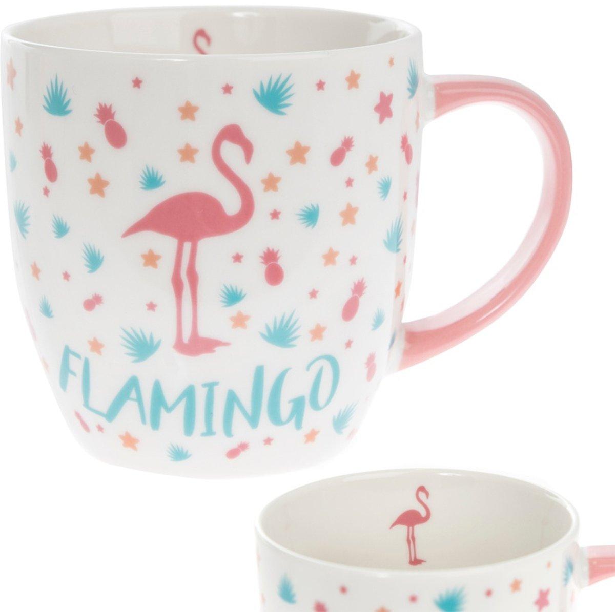 Mok / drinkbeker met afbeelding flamingo .