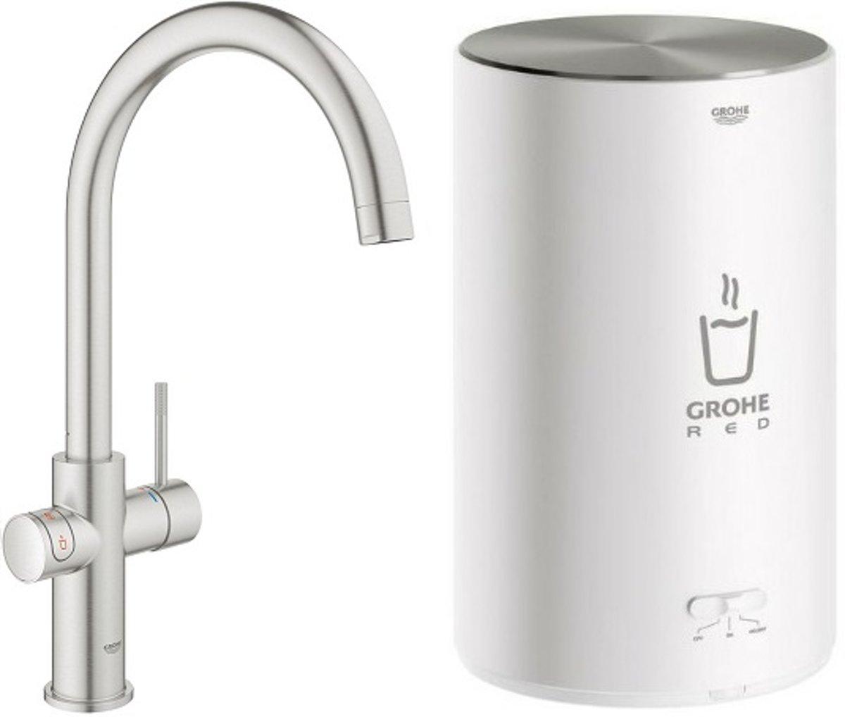 GROHE Red New Duo Kokend water kraan - Keukenkraan met M-size boiler - C-uitloop - Supersteel (RVS) - 30374DC1 kopen