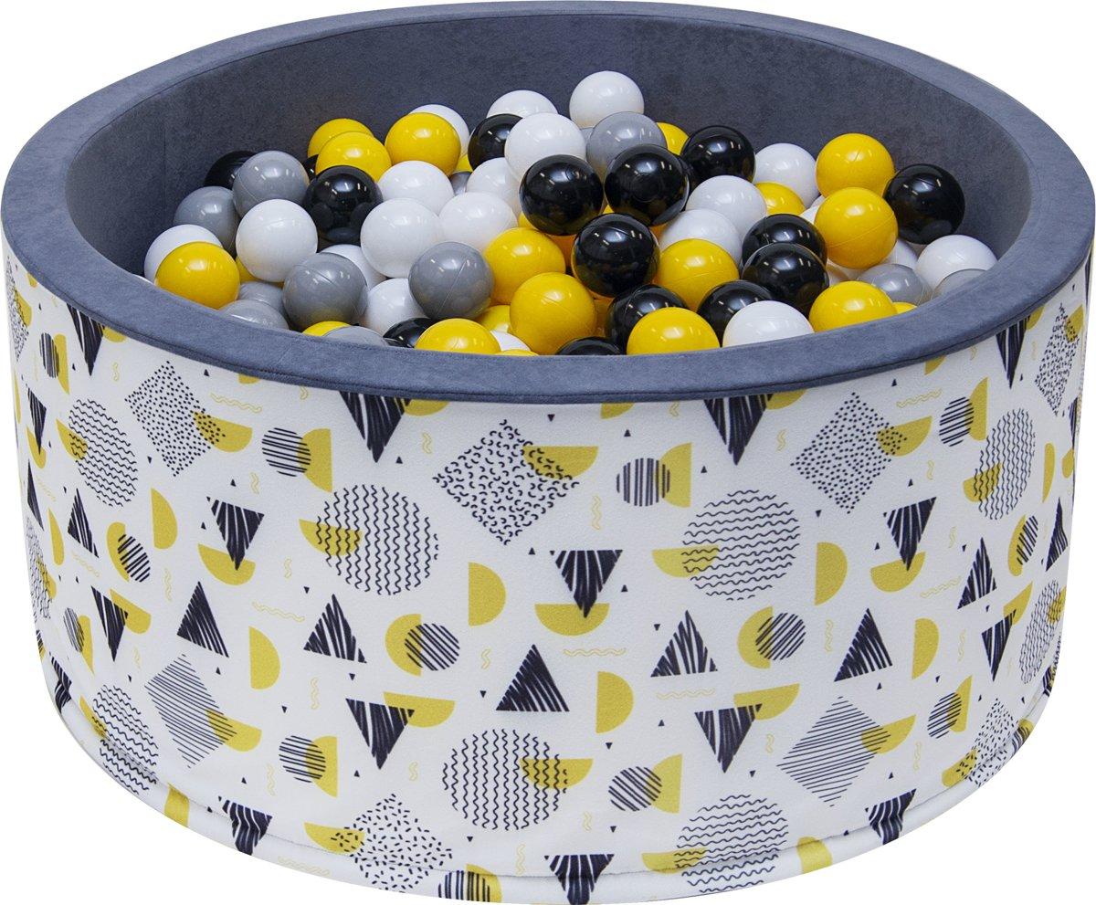 Ballenbak - stevige ballenbad -90 x 40 cm - 200 ballen Ø 7 cm - geel, wit, grijs en zwart