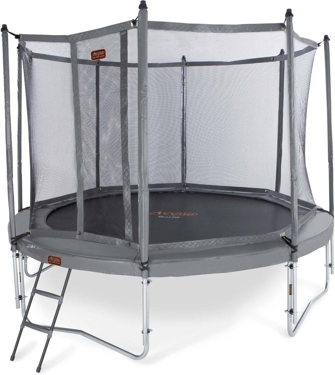 Avyna trampoline PRO-LINE 12 + net boven + ladder - grijs