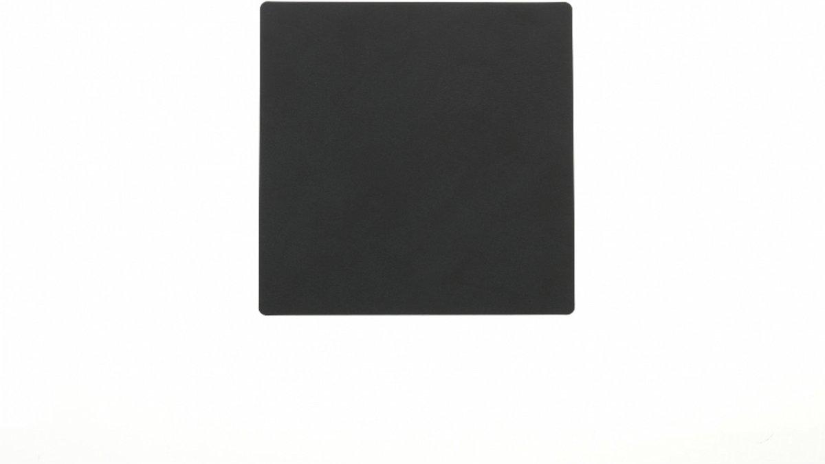 Glasonderzetter leder vierkant zwart set van 4 Linddna