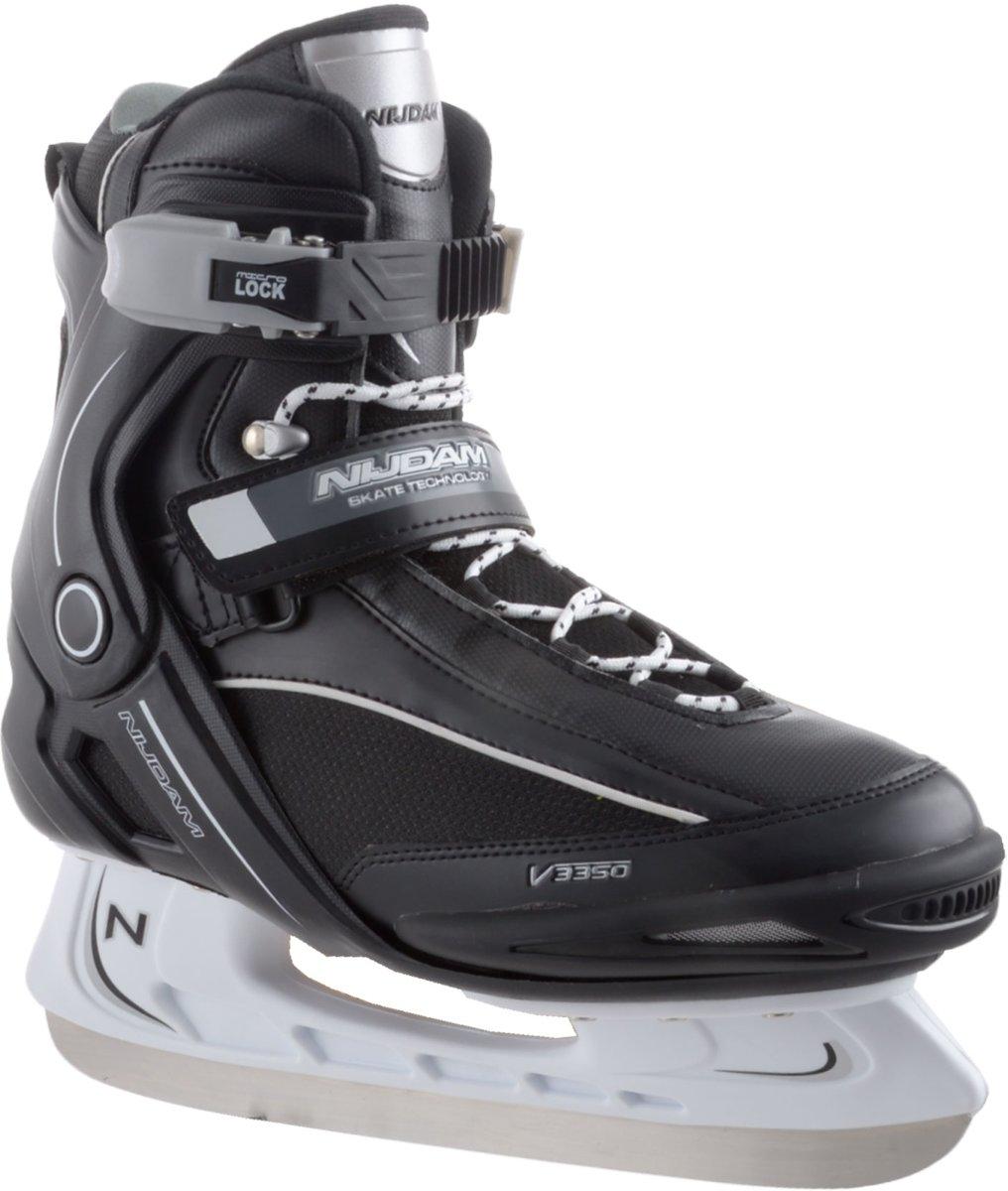 Nijdam 3350 IJshockeyschaats - Semi-Softboot - Zwart/Wit - Maat 41