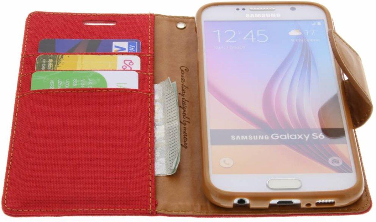 Mercury Goospery Canvas Diary Case Samsung Galaxy S6 Red