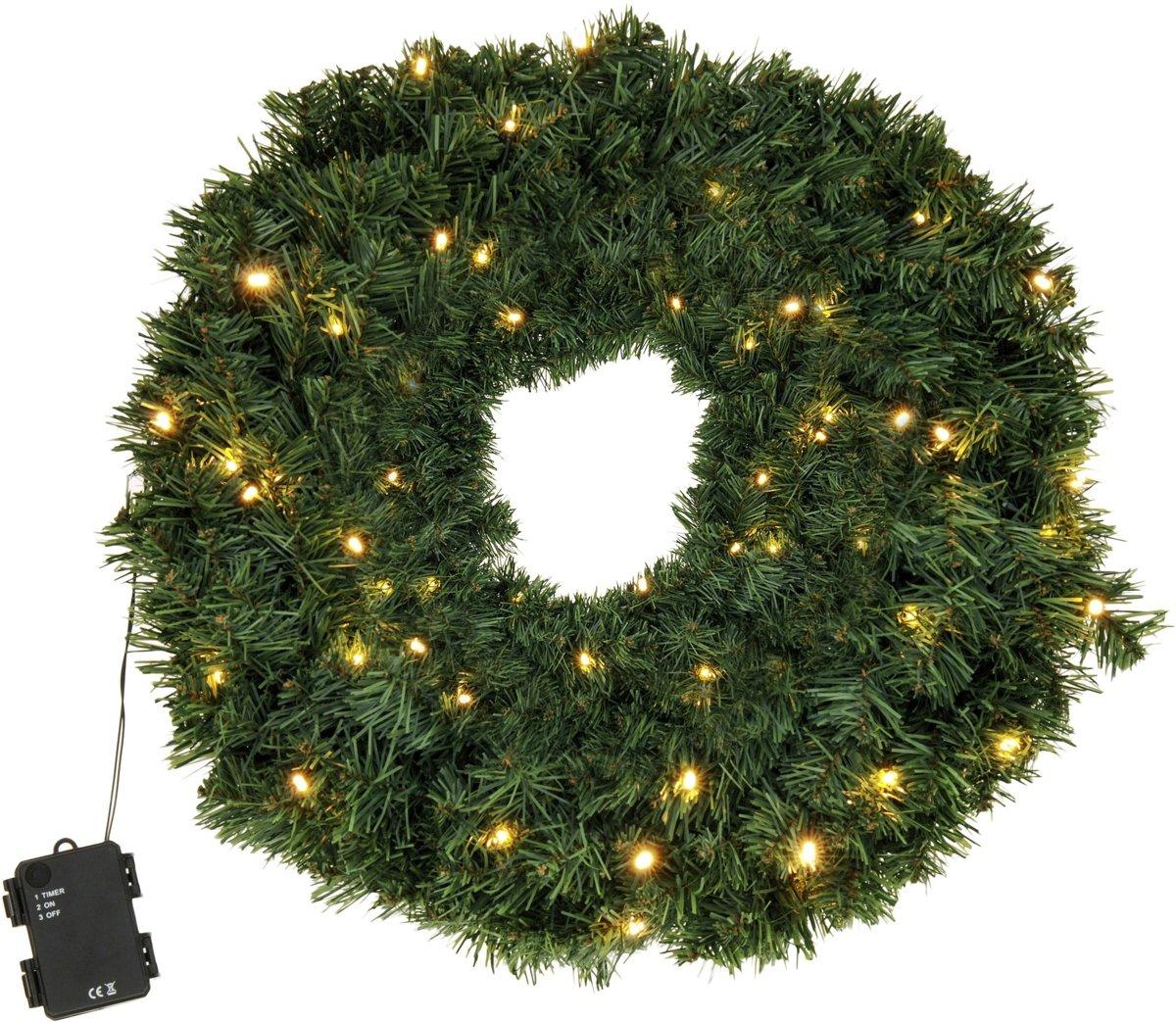 Kerstkrans met LED verlichting 60 cm kopen