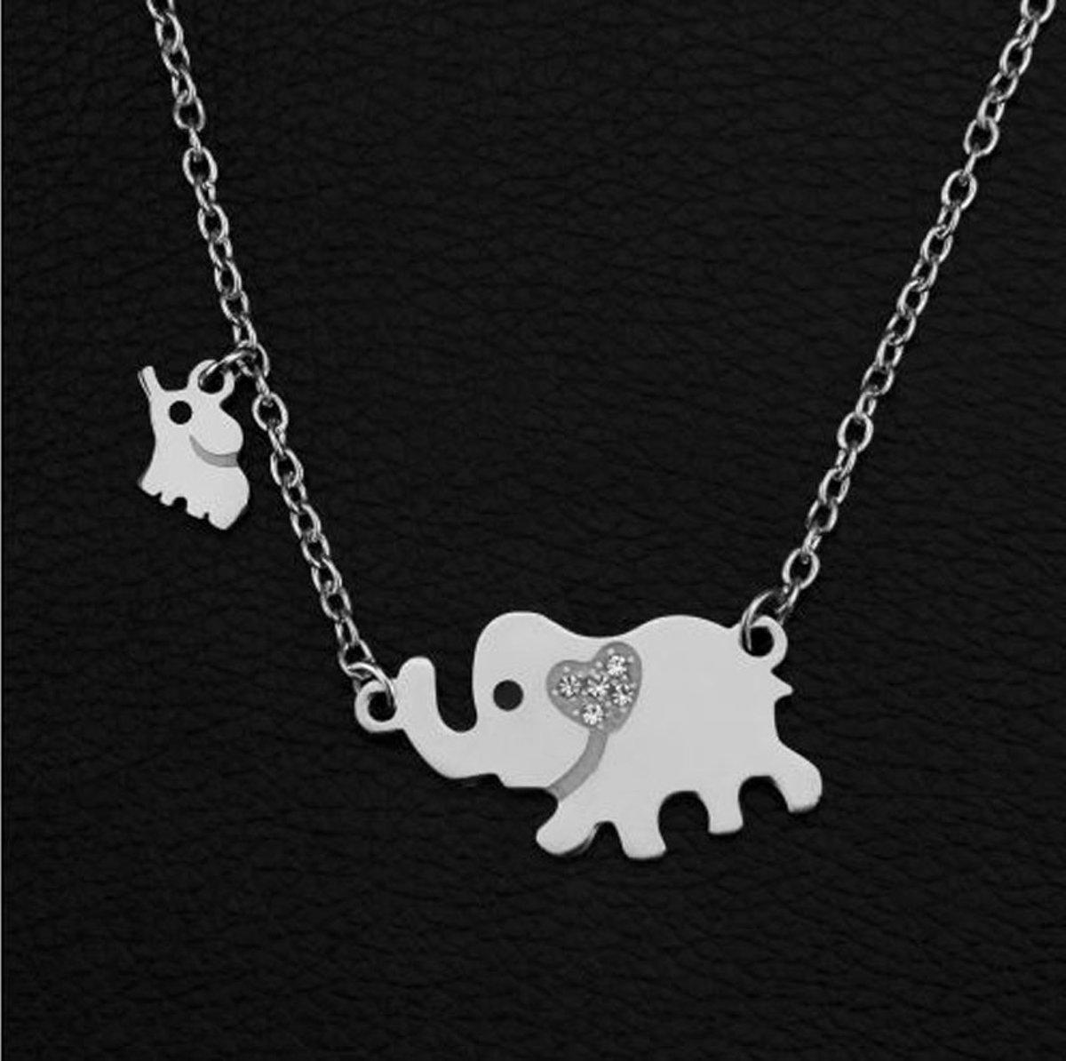 Stalen ketting met moeder olifant en 1 baby olifantje - cadeau voor moeder - geschenk mama kopen