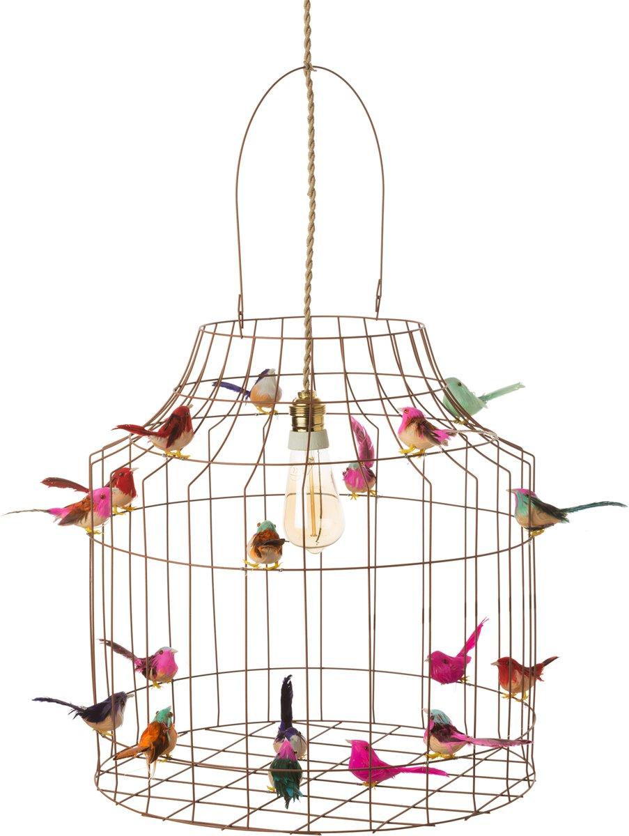 Hanglamp eetkamer landelijk | roestbruin metaal met vintage fitting kooldraadlamp en vogeltjes nét echt! | Large