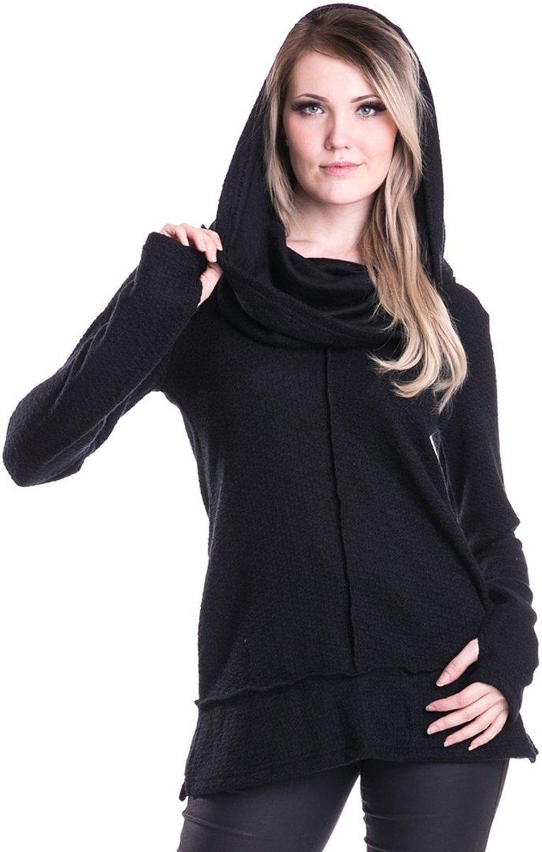 Kure dames trui met capuchon en duimgaten zwart - Gothic - XL - Innocent Clothing