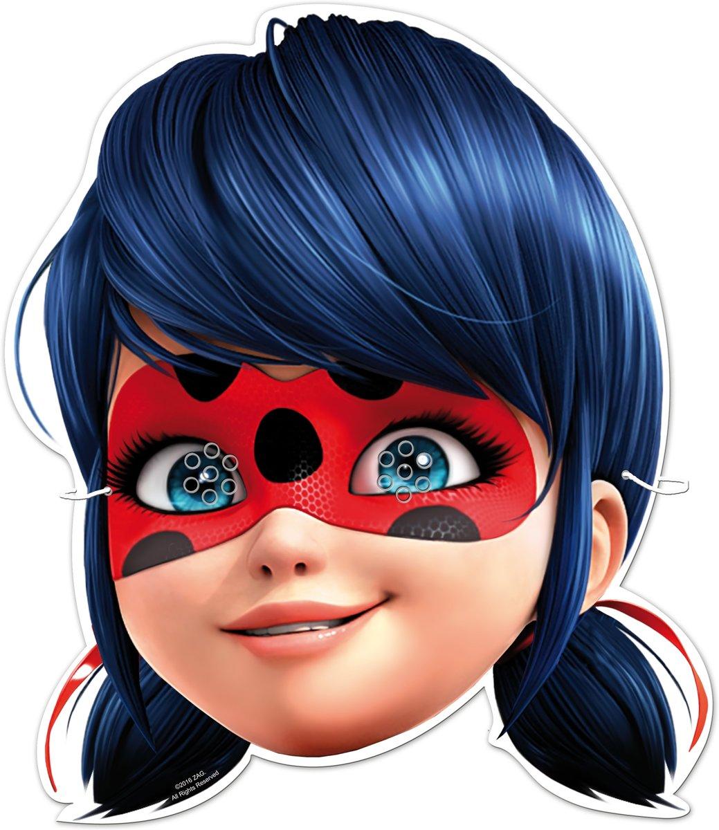 6 kartonnen Ladybug™ maskers - Verkleedmasker