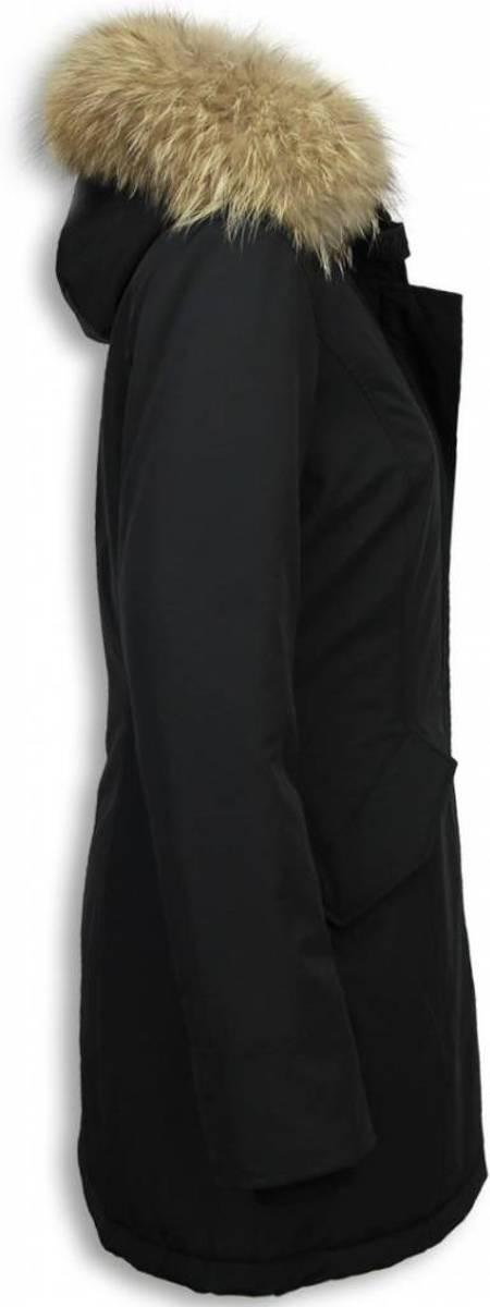 Gentile Bellini Winterjassen Dames Winterjas Wooly Lang Large Kunstkraag Zwart XL