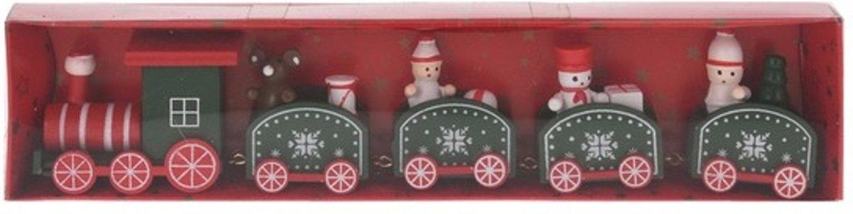 Kersttrein rood/groen van hout 24 cm kopen
