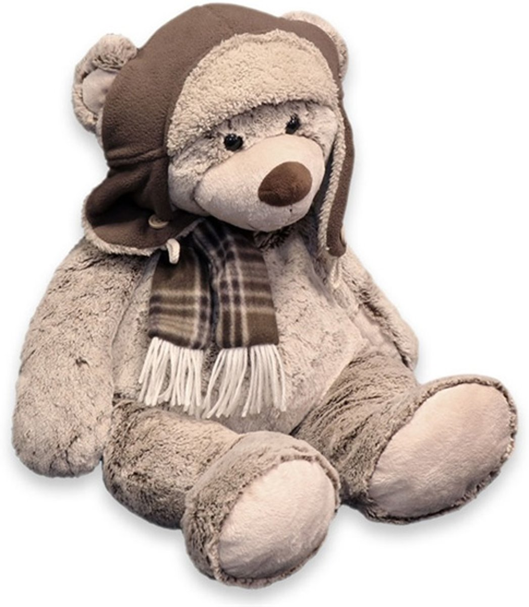Unique Living Bear Pilot Plush - Knuffeldier - 37 cm - Bruin