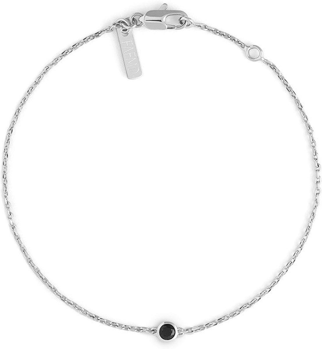 FAEMD Black Stud Bracelet - Dames - Armband - Zilver - Minimalistisch