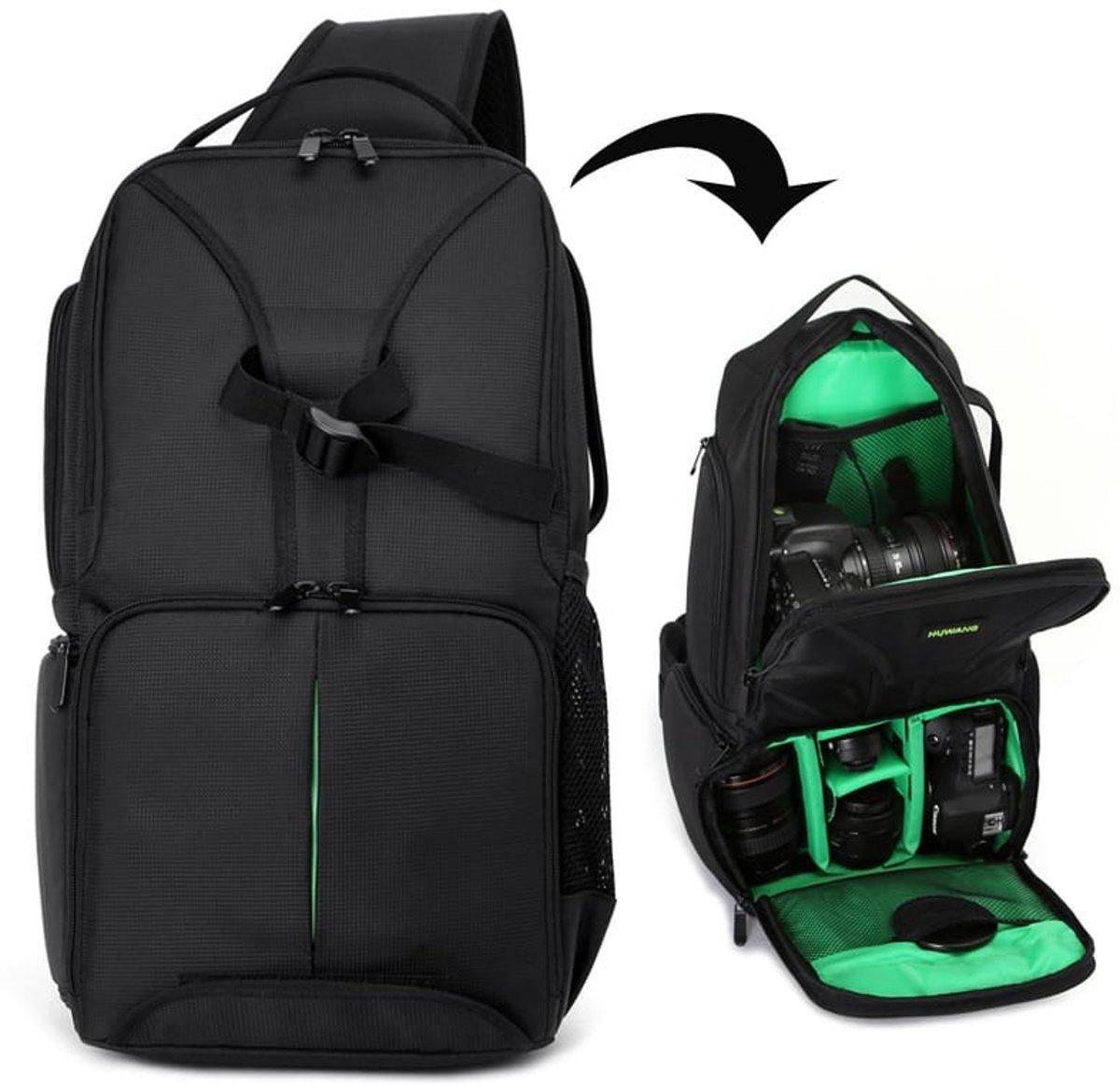HUWANG Waterdichte schouderrugzak Gevulde schokbestendige cameratas Tas voor Nikon (groen) kopen