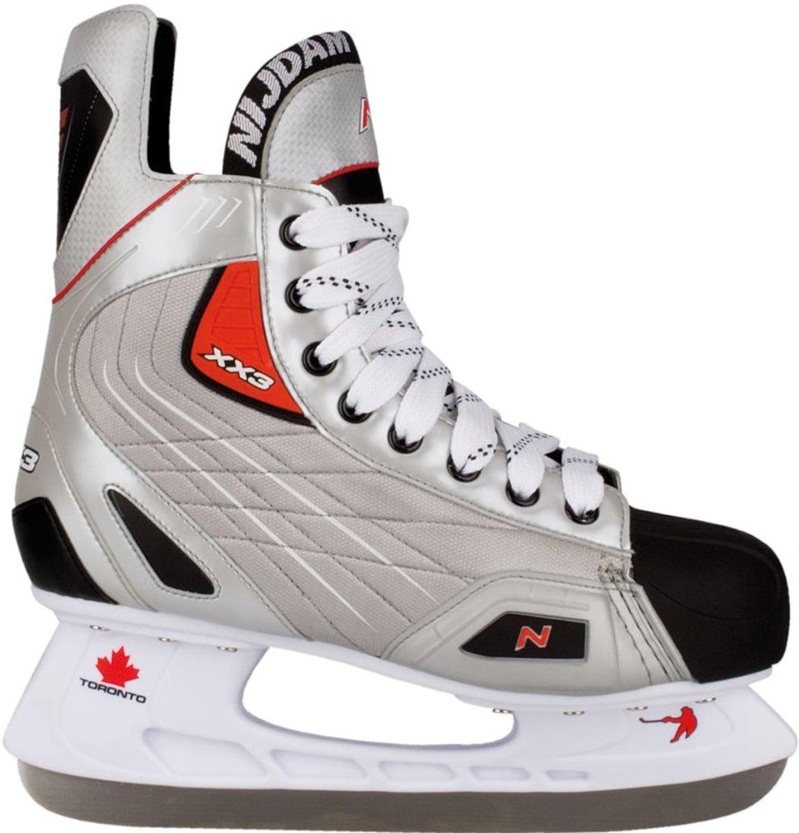 Nijdam 3385 IJshockeyschaats - Deluxe - Grijs/Zilver - Maat 42
