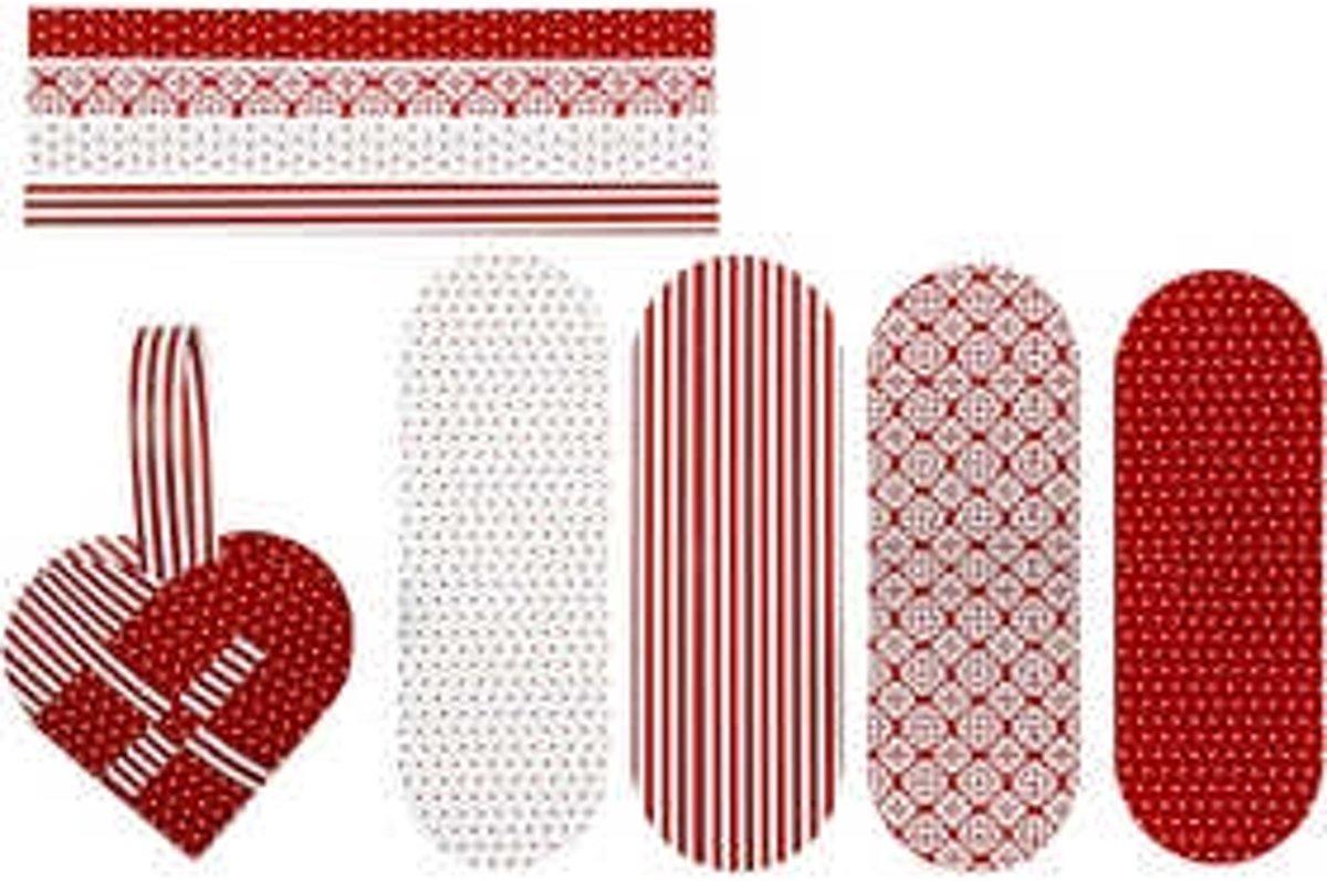 Gevlochten harten afm 14 5x10 cm 120 gr wit rood 8sets
