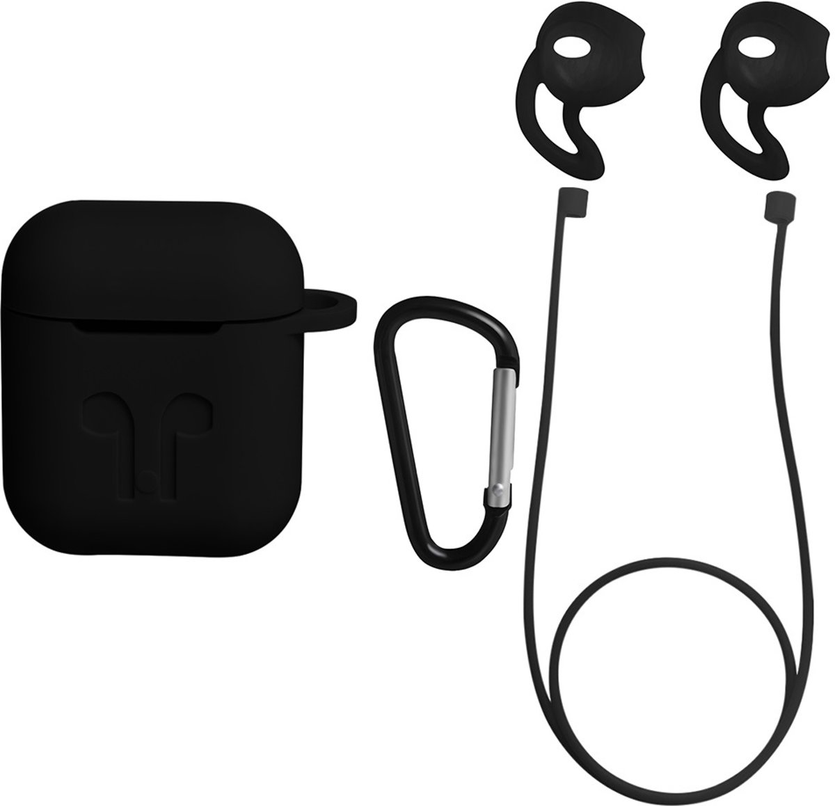 Anti Lost Strap & Case Hoes Voor Apple Airpods - Siliconen Wireless Band & Beschermhoes Cover - zwart | Airpods hoesje kopen