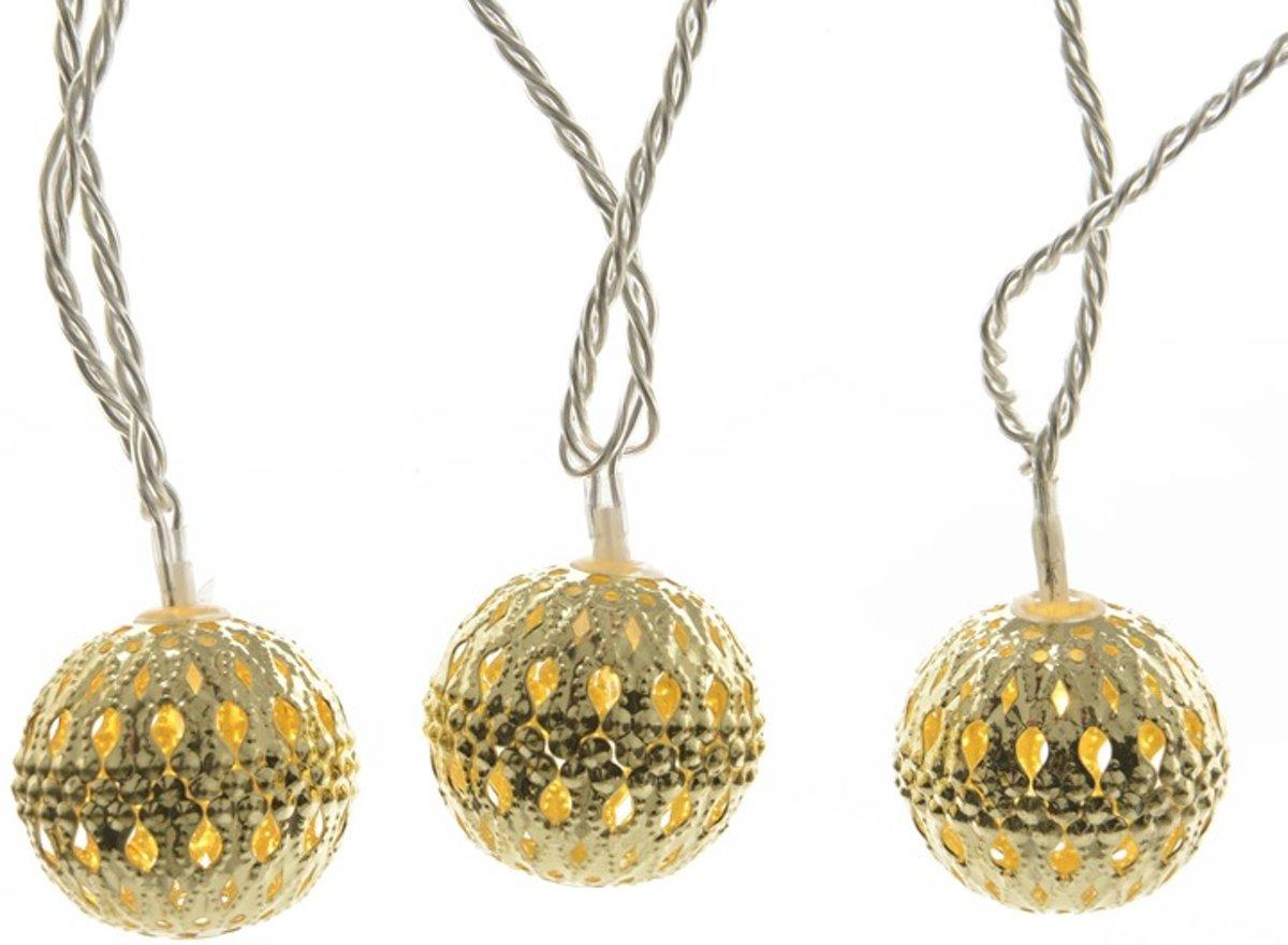 HHCP Decoratieve LED snoerverlichting gouden ballen - 3,8 m 20 lampjes - extra warm wit kopen