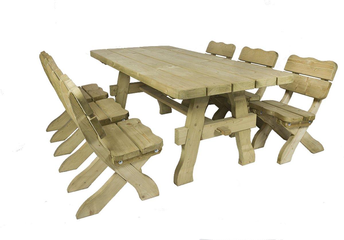 MaximaVida houten tuinset landelijke stijl 200 cm ( tafel + 6 stoelen )