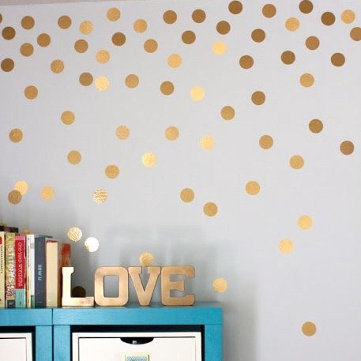 Muurdecoratie Hout Kinderkamer.Top Honderd Gold Dots Wanddecoratie Muurstickers Rondjes