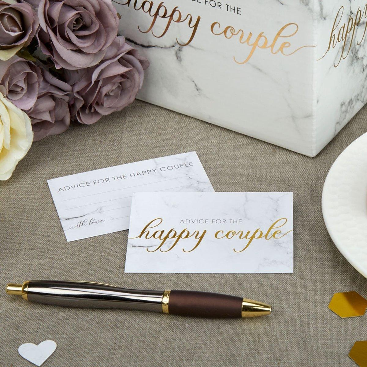 Happy couple Wedding Wishes Marmer Goud (25st) kopen