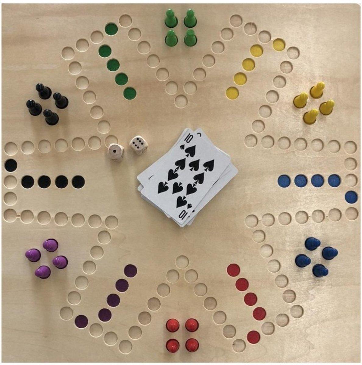 Spel Keezen de luxe - 2 tot 6 pers dubbelzijdig houten speelbord - ThysToys keezenspel