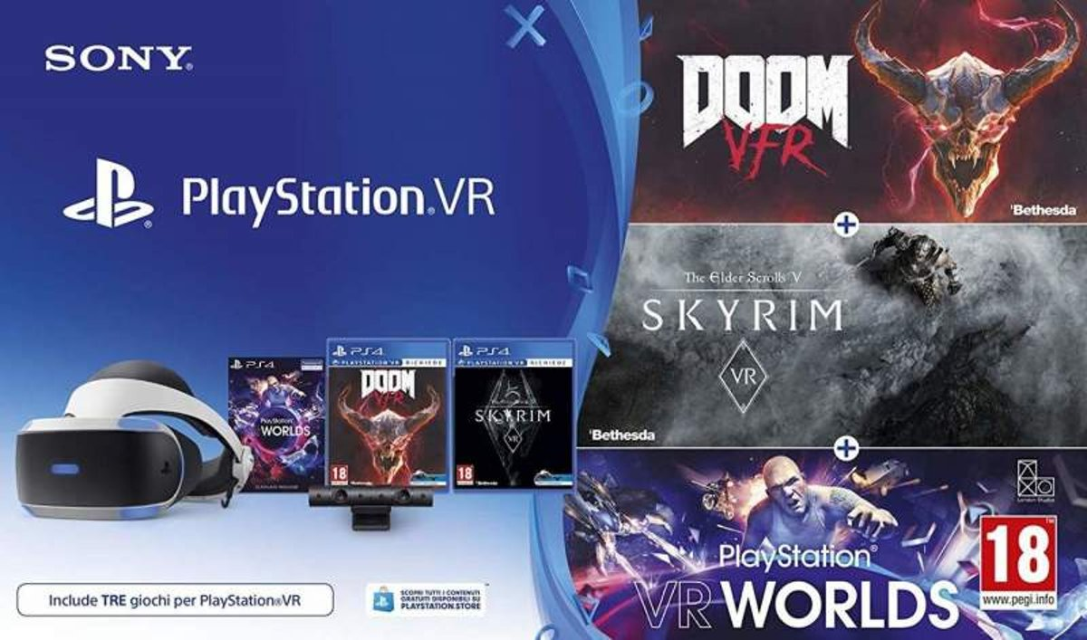 Sony PlayStation VR (V2) + Camera V2 pakket met VR Worlds + Doom VFR + Skyrim VR kopen