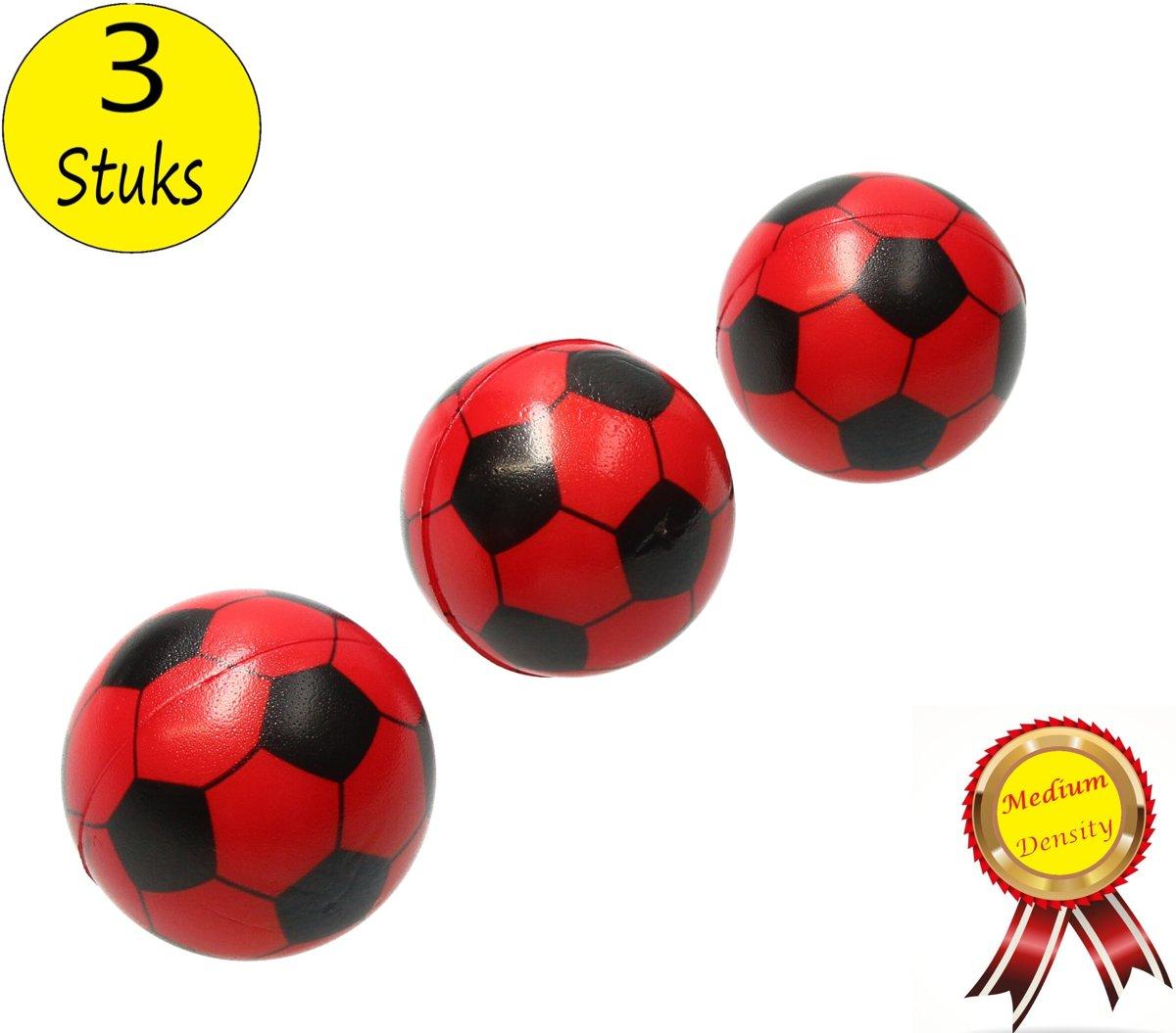 Stressbal Medium Density Voetbal 3 Stuks – Sensomotorische Stimulatie – Anti-Stress – Rood