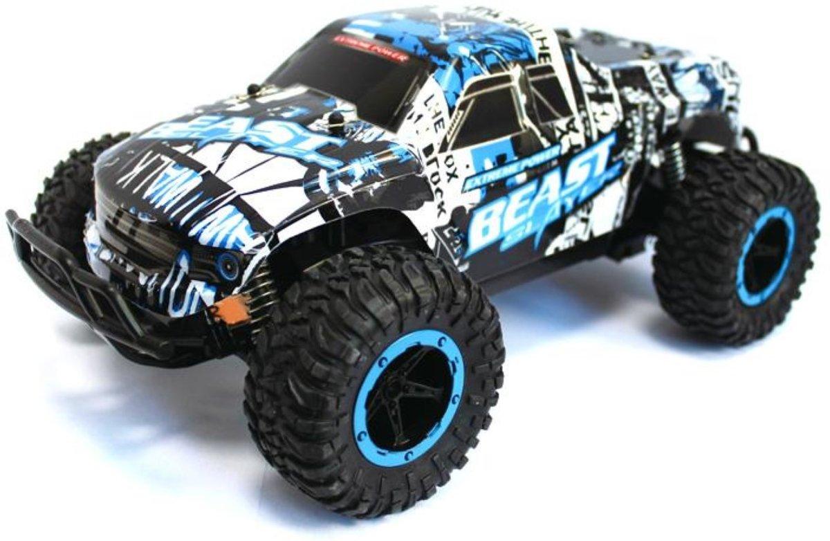 Monster Truck R/C - Cheetah King Muscle - 1:16 - 2,4 ghz - Zwart/Wit/Blauw