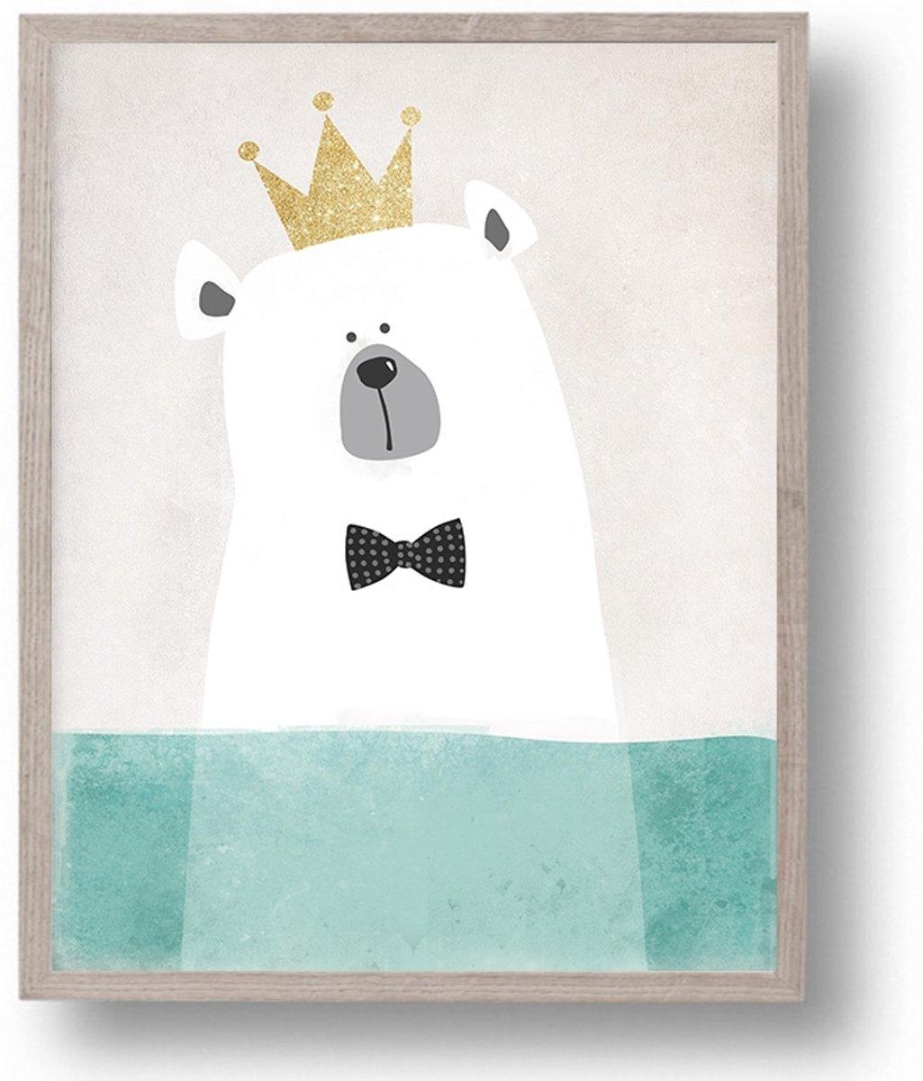 Postercity - Design Canvas Poster Ijsbeer Koning / Kinderkamer / Muurdecoratie / 40 x 30cm / A3 kopen