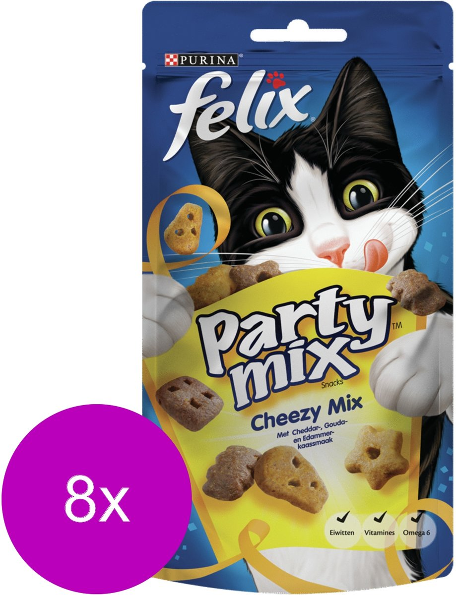 FELIX Party Mix Snacks - Cheesy Mix - Kattensnack - 8 x 60 g