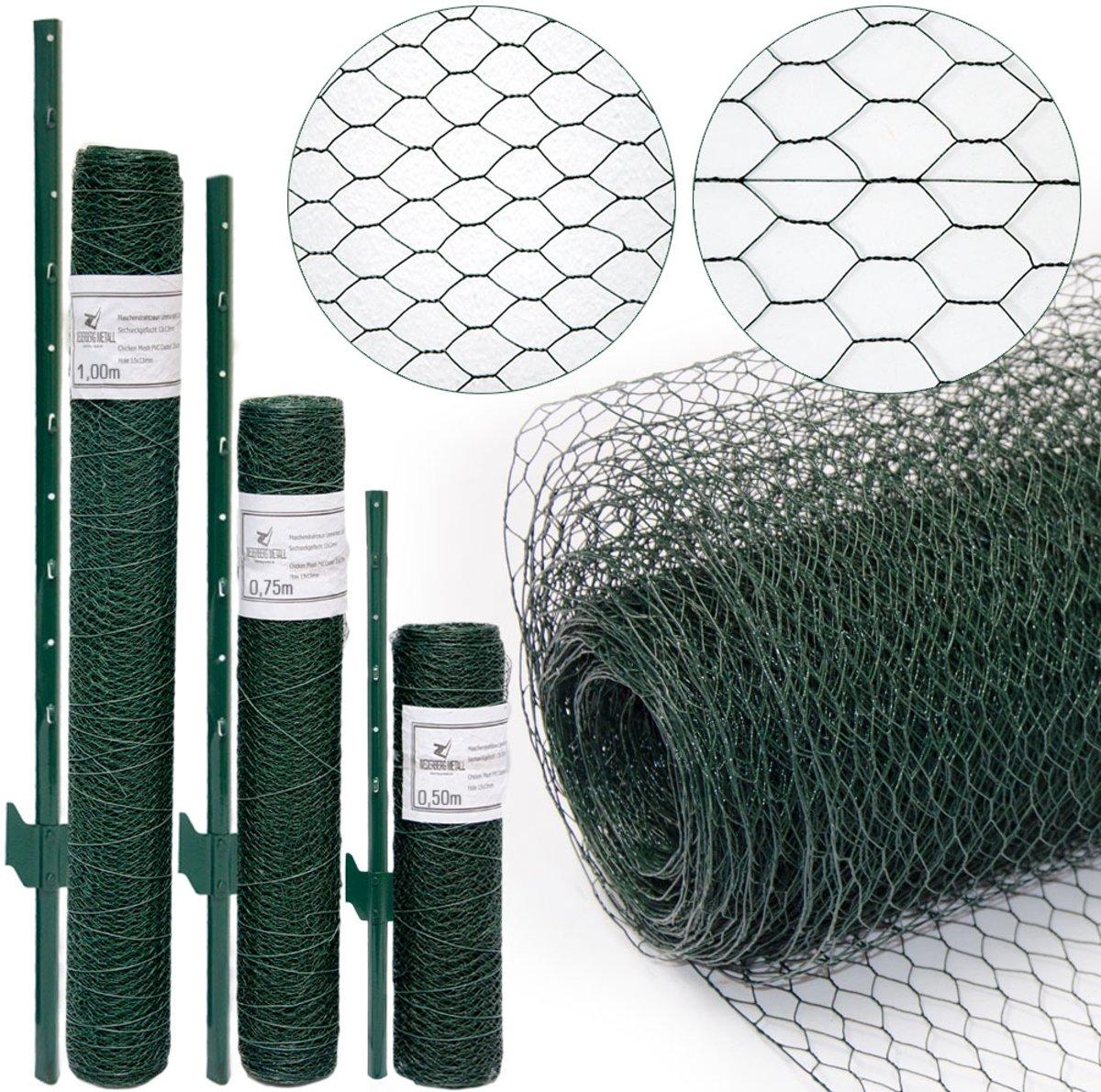 Gaashek set - 5m x 50cm hek - 4 palen - 25x25 hek set Gegalvaniseerd groen