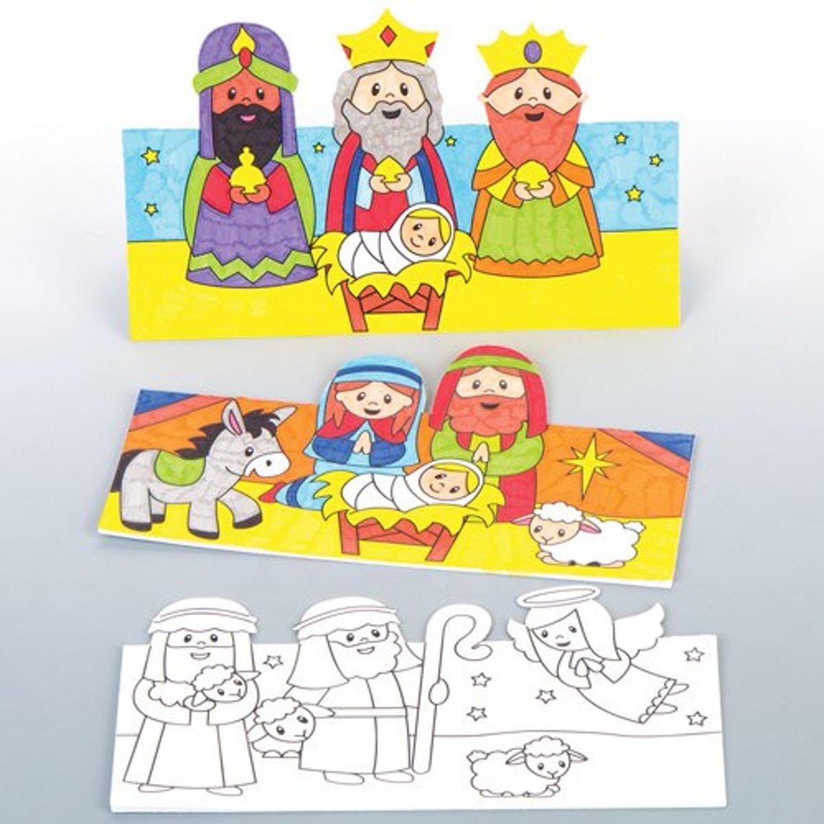 Kaarten Met 3d Afbeeldingen Van Het Kerstverhaal Creatieve