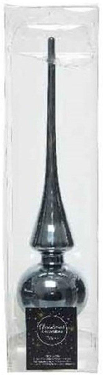 Grijsblauw glazen piek glans 26 cm - Grijsblauwe kerstboom versieringen kopen