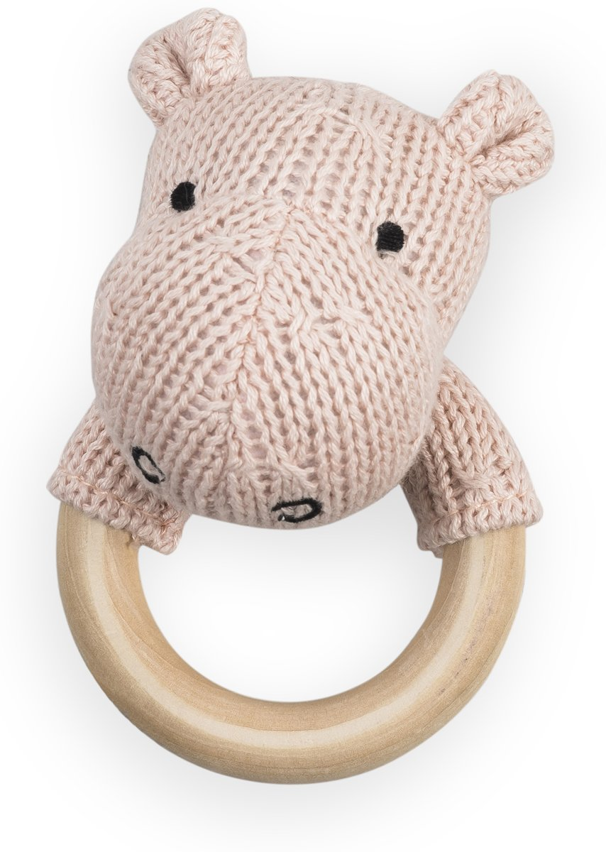 Jollein Soft knit  Rammelaar bijtring Ø 7cm hippo creamy peach
