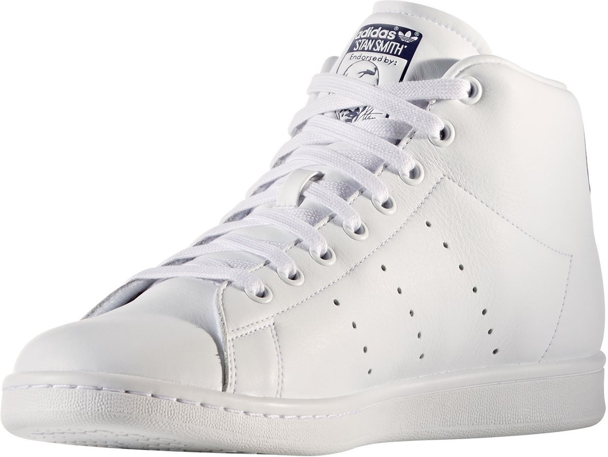 Adidas Stan Smith Baskets Mi - Taille 36 - Hommes - Blanc / Bleu nh6hy87b7