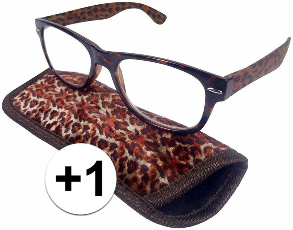 Modieuze leesbril +1 in panterprint kopen