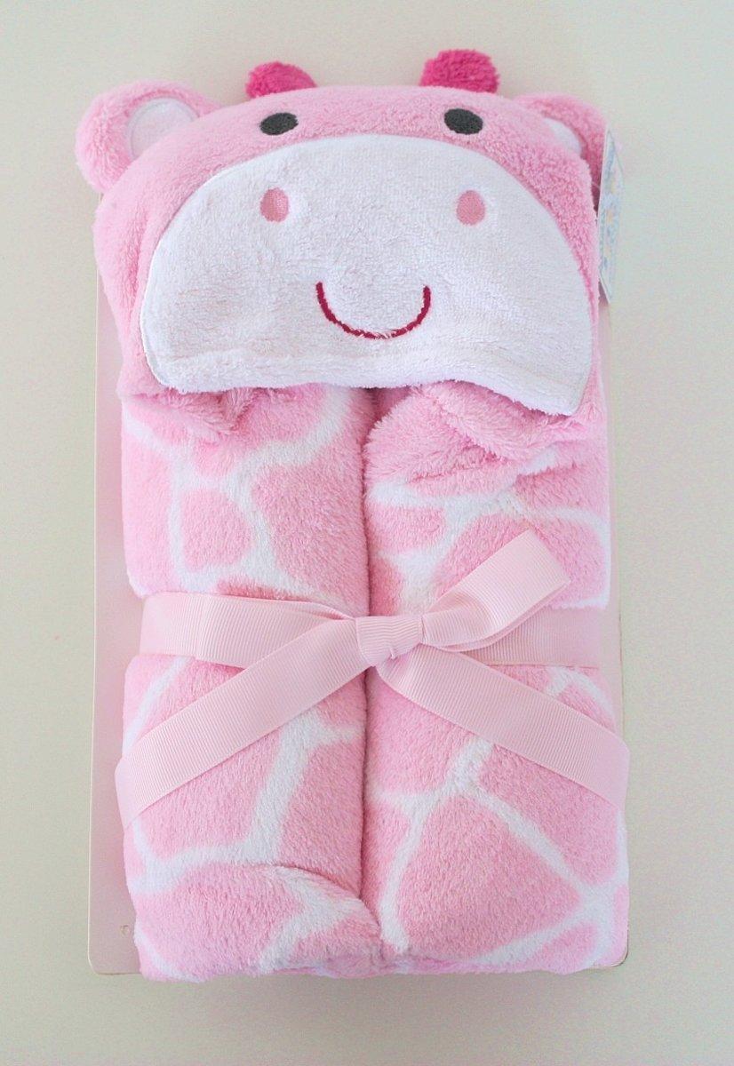 036ec753e2c baby badcape - wrap - omslagdoek - roze - giraf - kraamcadeau
