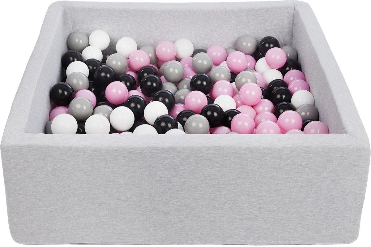 Ballenbak - stevige ballenbad - 90x90 cm - 300 ballen Ø 7 cm - wit, roze, grijs, zwart.