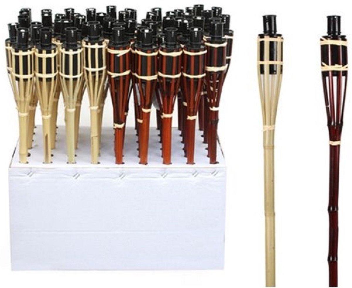 Set van 8 bamboe tuinfakkels beige 65 cm - Tuindecoratie fakkels